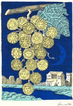 Lunario del Sole (Solar Almanac), illustration printed by hand, Piero Fornasetti, Italian Painters, Art Academy, Italian Art, Stars And Moon, Fascinator, Decorative Boxes, Pattern, Prints