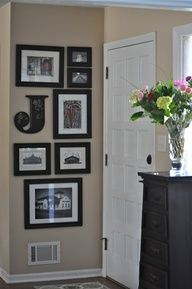frame idea for a small wall, I have that letter in an E from Hobby Lobby! Just add some frames full of pictures of the house being built and I have a small wall covered! Home Design, Interior Design, Wall Design, Design Ideas, Decoration Entree, Home And Deco, My New Room, First Home, Home Projects