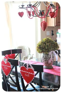 The Crafting Chicks Tutorial | Adorable little Valentine's Day felt chair holders for  LOVE notes or ???!
