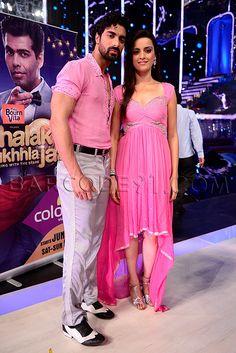 Ekta Kaul  in a pink suit with choreographer Tushar.