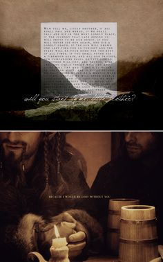 because i would be lost without you #thehobbit #fili #kili