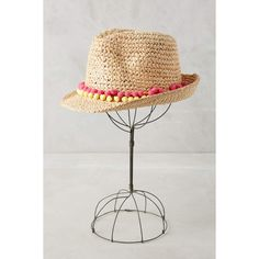 Tracy Watts Pom Fedora ($120) ❤ liked on Polyvore featuring accessories, hats, pink, pom pom hat, raffia fedora hat, pink fedora, pink hat and pompom hat
