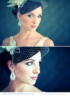 Vintage head piece and diamond chandelier earings..