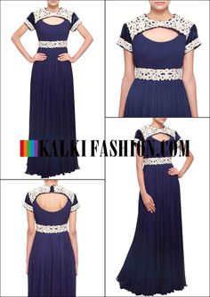 Get this beautiful dress here: http://www.kalkifashion.com/navy-blue-gown-with-neckline-adorn-in-zardosi-and-sequence-only-on-kalki.html Free shipping worldwide.