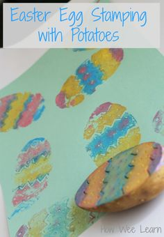We love our Easter crafts for preschoolers - and this Easter egg stamping with potatoes is adorable!!  Such a sweet Easter activity for kids!
