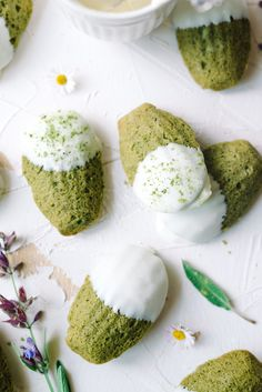 Matcha Madeleines- your perfect matcha dessert! Fluffy green tea cookies smothered in white chocolate. Green Tea Dessert, Matcha Dessert, Matcha Cake, Green Tea Cookies, Donuts, Madeleine Recipe, Madeleine Cake, Cookie Recipes, Dessert Recipes