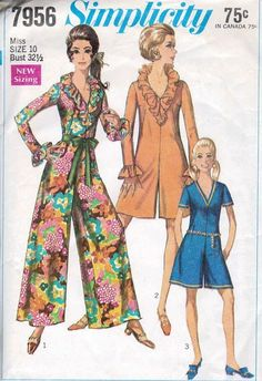 1960s MOD Jumpsuit Pantdress Pattern SIMPLICITY 7956 Vintage Sewing Pattern Ruffled V Neck Romper 2 Sleeve Lengths UNCUT Bust 38