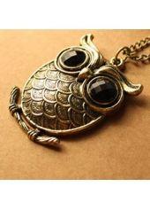 Vintage Rhinestone Decoration Bronze Owl Shape Design Necklace