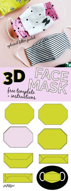 3d mask template - the most comfortable face mask - see kate sew Easy Face Masks, Best Face Mask, Diy Face Mask, 3d Templates, Templates Printable Free, Neoprene Face Mask, Sewing Lessons, Sewing Tips, Sewing Tutorials