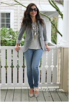 Grey Blazer and Pale Jeans