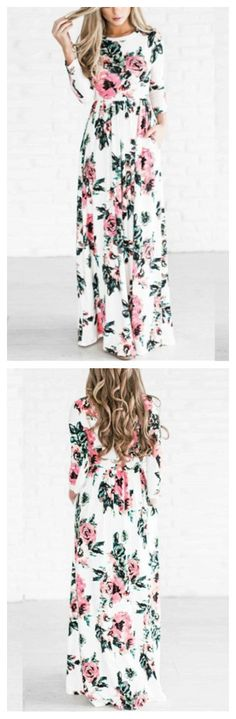 Long Sleeve Floral Printed Maxi Prom Dress Product Code: OP223482 $27.65