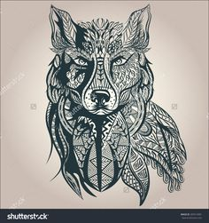 abstract wolf tattoo - Google Search