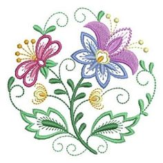 Jacobean Floral Circle 6 - 4x4 | What's New | Machine Embroidery Designs | SWAKembroidery.com Ace Points Embroidery