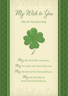 St. Patrick's day. March 17 2015. Send this heartfelt card to someone special.