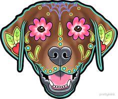 Labrador Retriever in Chocolate - Day of the Dead Lab Sugar Skull ...