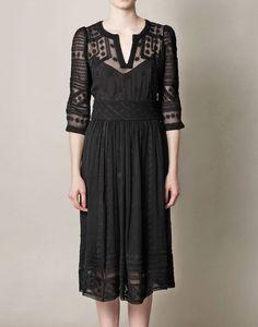 Isabel Marant Black Ludivine Embroidered Silk Chiffon Dress