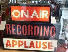 RECORDING Light Up Box UK Mains Plug 240v Red Black Metal Sign Retro Studio