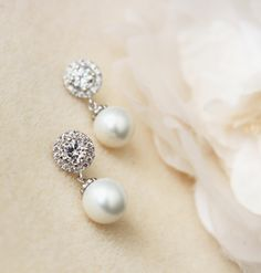 Pearl Wedding Jewelry White Pearl Bridal Earrings Lux round cubic zirconia sterling silver post earrings bridal party bridesmaid gift by DreamIslandJewellery on Etsy