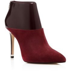 MICHAEL Michael Kors Freya High Heel Booties (3980250 BYR) ❤ liked on Polyvore featuring shoes, boots, ankle booties, merlot, michael michael kors boots, high heel booties, pointy toe boots, pointed-toe boots и suede booties