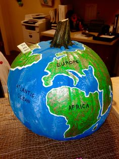 "Labeled "" Earth pumpkin "" by Marla Goodrich Pirate Halloween Costumes, Couple Halloween Costumes For Adults, Halloween Books, Halloween Jack, Halloween Town, Halloween Pumpkins, Halloween Decorations, Couple Costumes, Group Costumes"