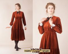 Victorian velvet dress / Schoolgirl Librarian long sleeve dress / Cooper Bronze Rust dress / Velvet dress by Quad / size Small to Medium Most Beautiful Dresses, Eyelet Lace, Schoolgirl, Fashion Boutique, Quad, Bronze, Victorian, Velvet, Medium