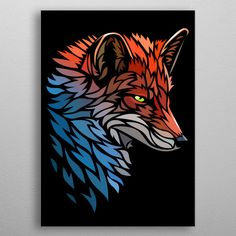Tribal Fox Red Blue detailed, premium quality, magnet mounted prints on metal designed by talented artists. Tribal Fox, Tribal Animals, Tribal Drawings, Art Drawings, Tribal Tattoos, Fuchs Tattoo, Cool Car Drawings, Blue Poster, Fox Art