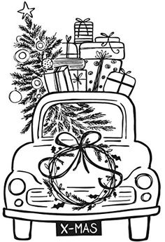 Rayher 29140000 Stempel Driving Home for Christmas, 7 x 10 cm Rayher Driving Home For Christmas, Christmas Crafts For Kids, Christmas Colors, Christmas Art, Xmas, Colouring Pages, Coloring Books, Christmas Coloring Pages, Christmas Drawing