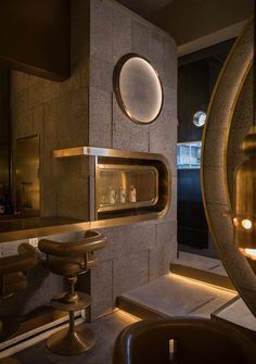 Bistro Interior, Restaurant Interior Design, Restaurant Lounge, Bar Lounge, Back Bar Design, Luxury Bar, Tv Wall Decor, Counter Design, Curved Walls