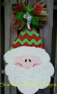 Chevron Santa Christmas Door Hanger by shabbyandsuchdesigns