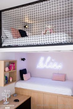 DANS LE FILET Realization WOM Design – Stéphanie MICHEL-GIRARD Photo credit © Isabelle Picarel Room with mezzanine renovated for a teenage girl around a feminine and airy atmosphere # filet # mezzanine # room # adolescent # menuiseriessurmesure # menuis Cute Room Decor, Cute Bedroom Ideas, Girl Bedroom Designs, Teen Room Decor, Awesome Bedrooms, Unique Teen Bedrooms, Small Room Bedroom, Room Decor Bedroom, Bed Room