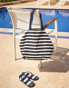 Women's Archer Beach Tote in Navy White Linen from Crew Clothing