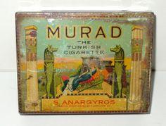 Murad Turkish Cigarette Cigar Tobacco Tin - S. Anargyros - P. Lorillard Co.