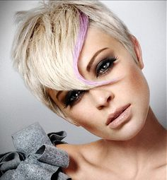 A short blonde straight coloured Multi-Tonal Rock-Chick hairstyle by Royston Blythe