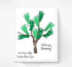 Baby Footprint Family Tree Art Personalized by PitterPatterPrint