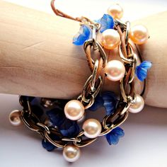Bold as Brass Leather Chain Bracelet by ShooglyBeads on Etsy, £40.00