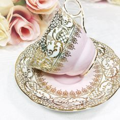 Royal Stafford English Tea Cup and Saucer Pink & Gold Lace