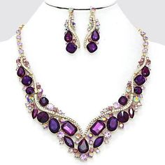 Wedding jewelry , bridal crystal jewelry, Vintage inspired necklace earrings, Purple jewely, Gold jewelry, bridesmaid jewelry set