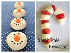 North Pole Breakfast menu: Snowman Donuts + Strawberry Banana Candy Canes