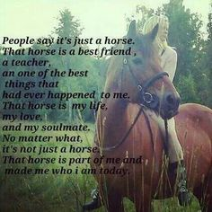 My right wing, I would be forever flying in circles without my horse.