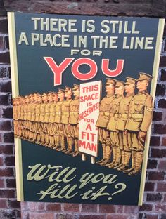 An old WW1 poster. The message is a great description of the message of God to you. Yet there is room! (Luke 14:22). God will fill His house (heaven). There is room in the line for you if you are willing to repent and trust Him for salvation.