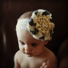 Baby Girl Headband... Baby  Headband...Gray Yellow Chevron Bow Headband on Ivory ... Toddler Headband... Flower Headband. $9.99, via Etsy.
