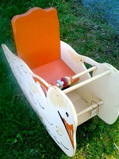 Vintage handcrafted wooden swan baby rocker; one of a kind, 1950's.