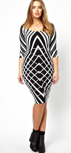 October 24th Launch:Body-Con Dress In Graphic Print by Asos Curve