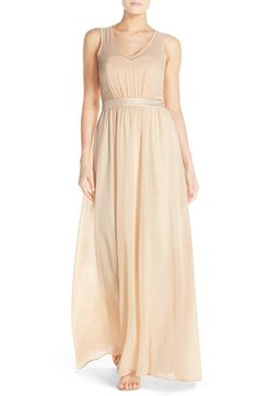 Free shipping and returns on Paper Crown by Lauren Conrad 'Madeline' Shimmer Bodice Gown at Nordstrom.com. Just a subtle touch of a shine puts this elegant and timeless gown in the spotlight. The flowy chiffon style is gathered to a shimmery waistband, while the matching sweetheart bodice is veiled with a sheer, V-neck overlay. A cutout back adds to the enchantment.