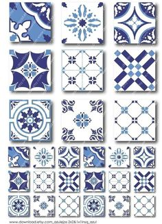 Azulejos 2 inch and 1 inch Combo Square Tiles Digital by download