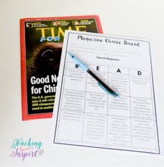 Free magazine choice board on this post. This choice board works well for reading centers. Scroll down for the link