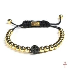 Gold Plated Men Bracelet #black #gemstone #gold #men #onyx #silver #bracelet #menstyle