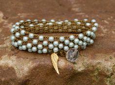Minty crochet wrap bracelet necklace bohemian by Mollymoojewels