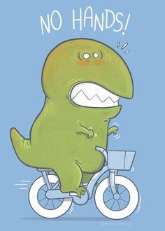 Displate Poster T-Rex tries biking dinosaur Dinosaur Puppet, Cartoon Dinosaur, Cartoon Monsters, Dinosaur Funny, Bearded Dragon Cute, Cute Funny Cartoons, Print Artist, Elementary Art, T Rex