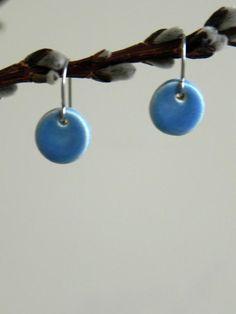 Little Blue Ceramic Dangle Earrings Minimalist  by Ceraminic